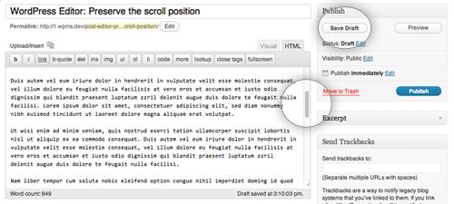 wp-editor-preserve-scroll-position - возврат позиции курсора после сохранения WordPress