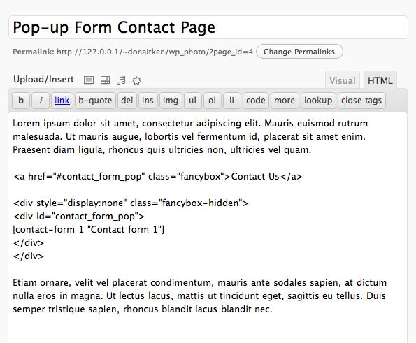 Пример вставки контактной формы WordPress