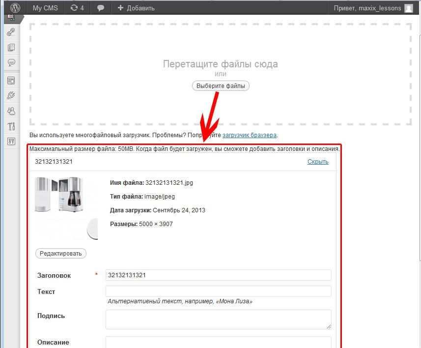 upload file content wordpress example