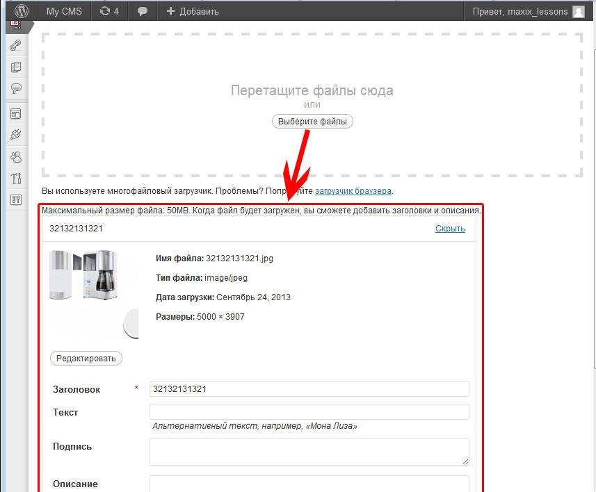 upload file content wordpress example