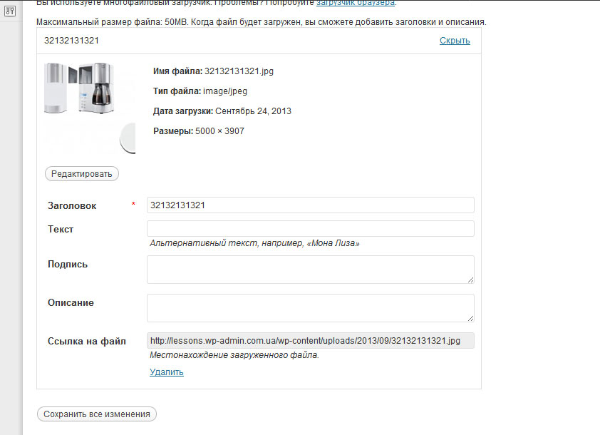 upload file parametr wordpress