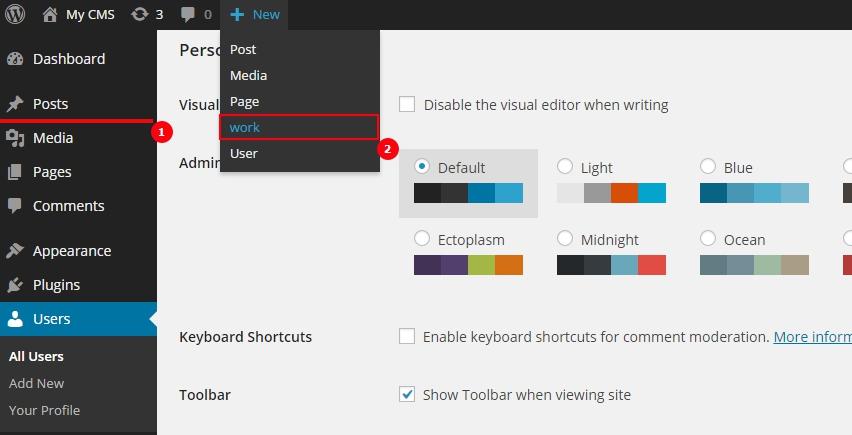 display type in wordpress menu