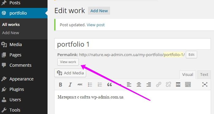 view wordpress custom post type portfolio
