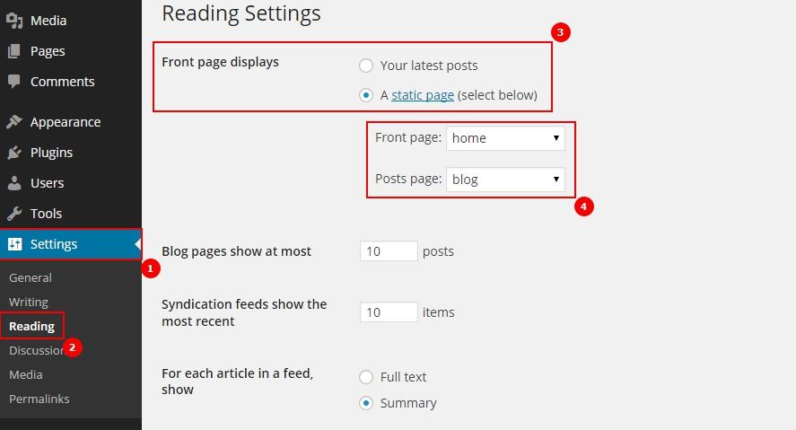 wordpress настройка страницы блога и главной страницы