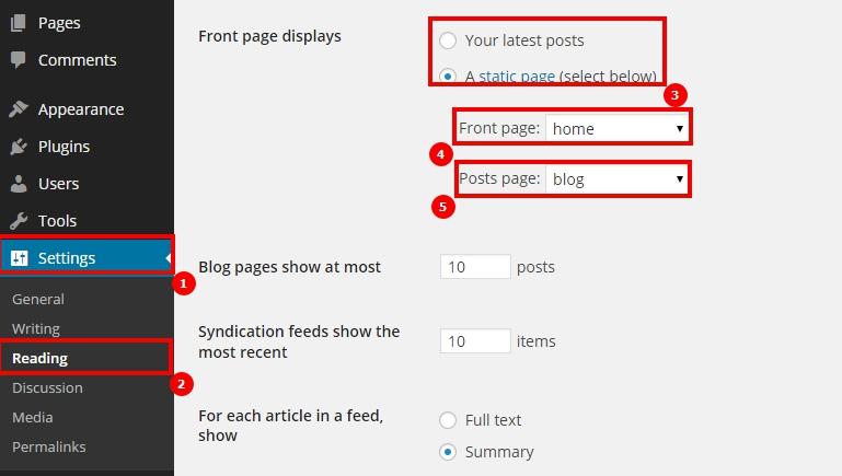 wordpress check home page and blog - курсы wordpress