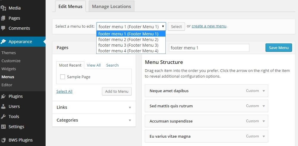 wordpress check menu - курсы wordpress для начинающих