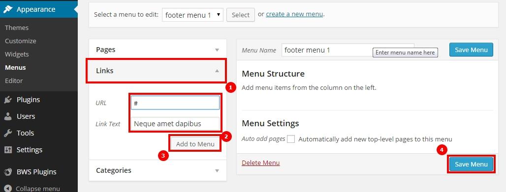wordpress create link to menu - курсы по wordpress