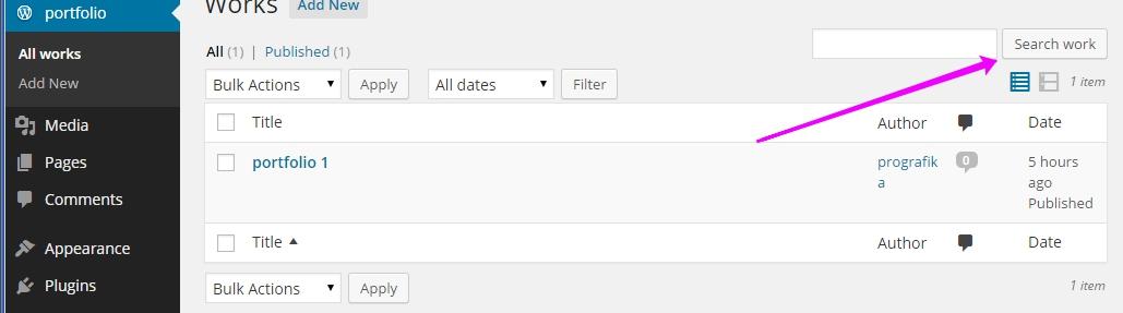 wordpress search post types button