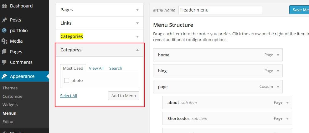 wordpress taxonomy in menu wordpress