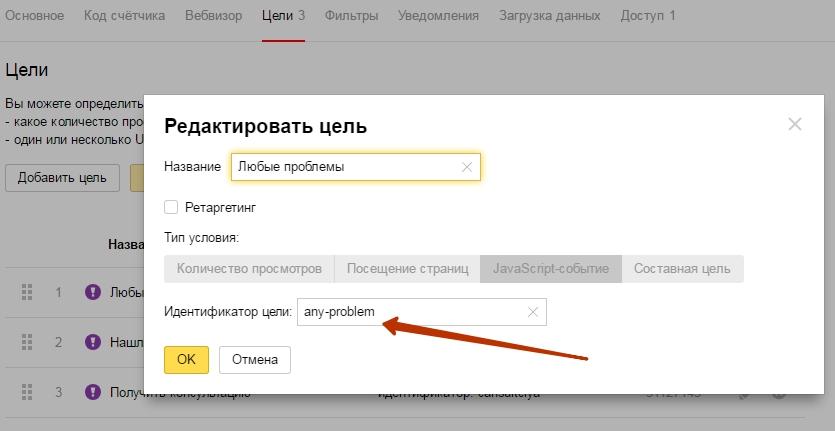 Яндекс метрика идентификатор цели