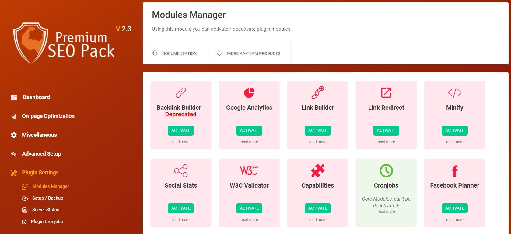 Modules Manager в плагинеPremium SEO Pack