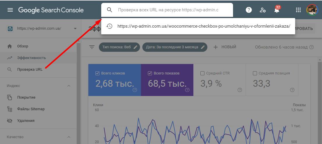 Проверить URL страницы в поиске Google