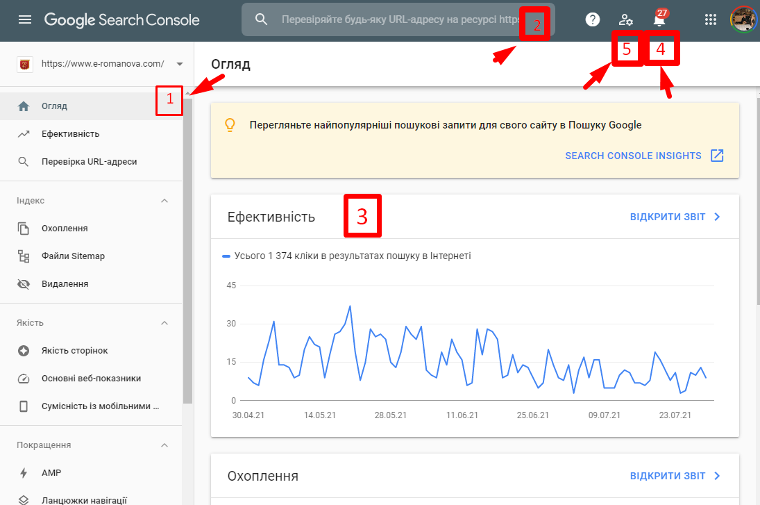interface google search console